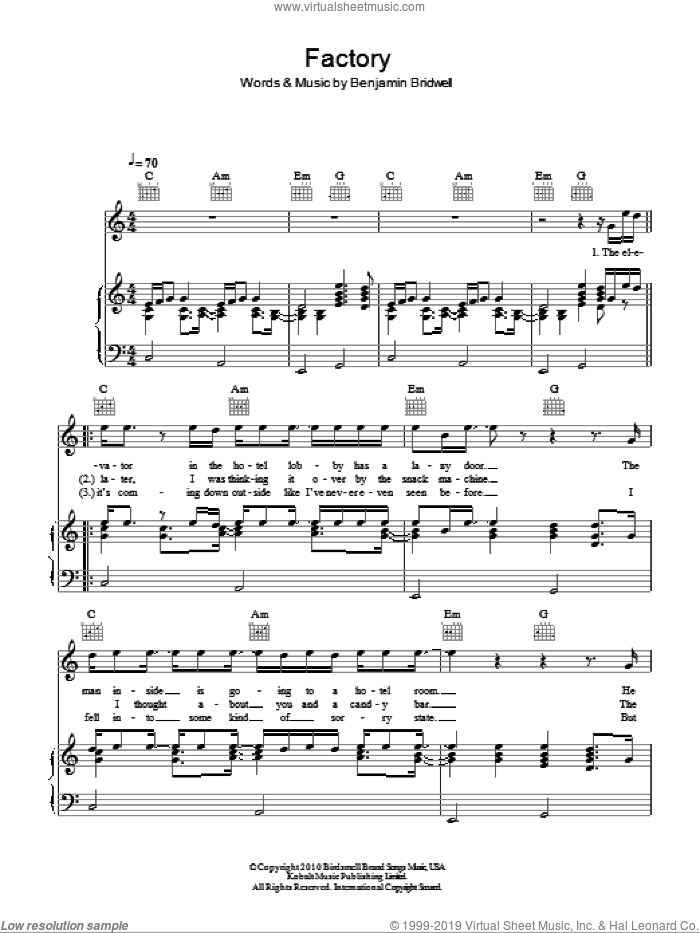 Factory sheet music for voice, piano or guitar by Band Of Horses and Benjamin Bridwell, intermediate. Score Image Preview.