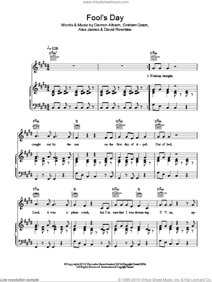 Fool's Day sheet music for voice, piano or guitar by Blur, Alex James and Damon Albarn. Score Image Preview.
