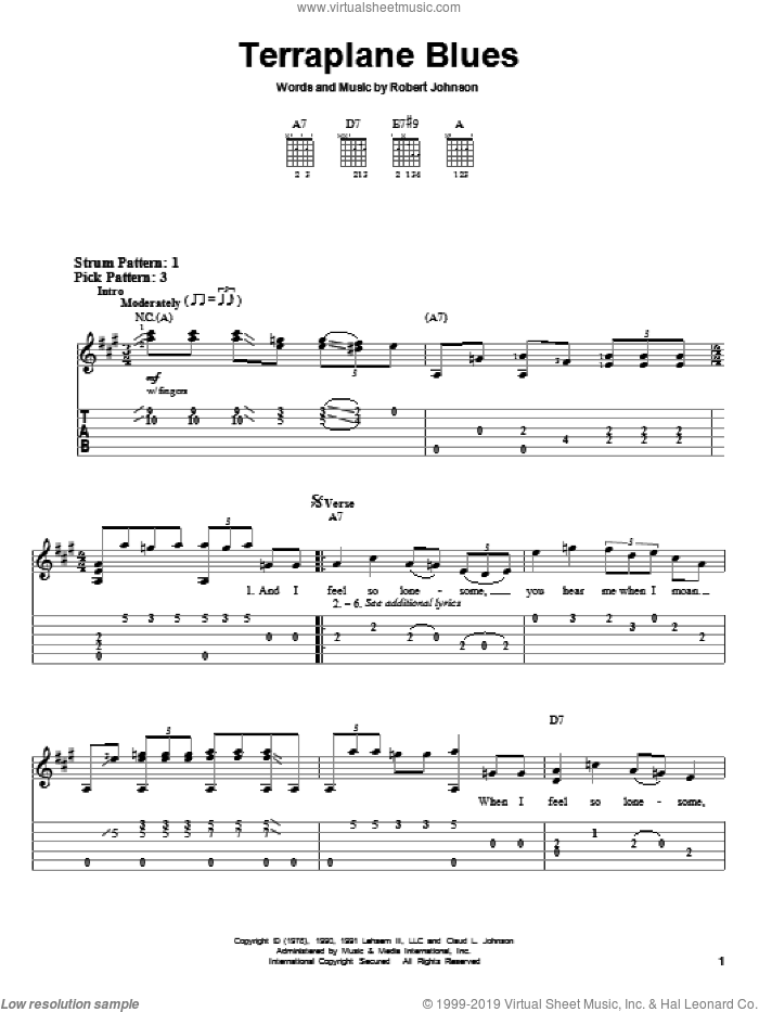 Terraplane Blues sheet music for guitar solo (easy tablature) by Robert Johnson, easy guitar (easy tablature)