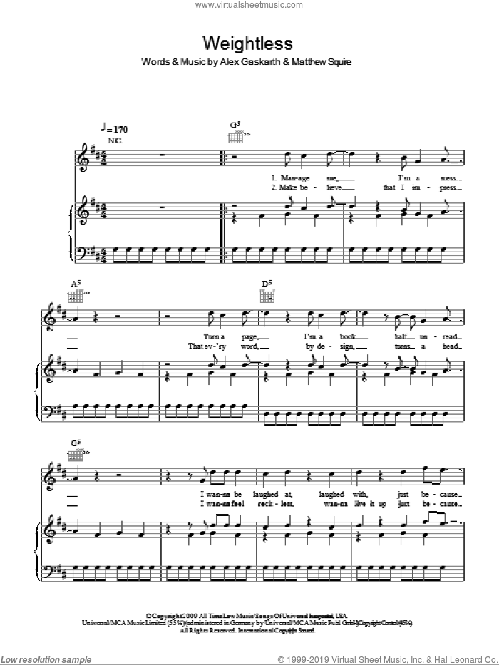 Weightless sheet music for voice, piano or guitar by Matt Squire and Alex Gaskarth. Score Image Preview.