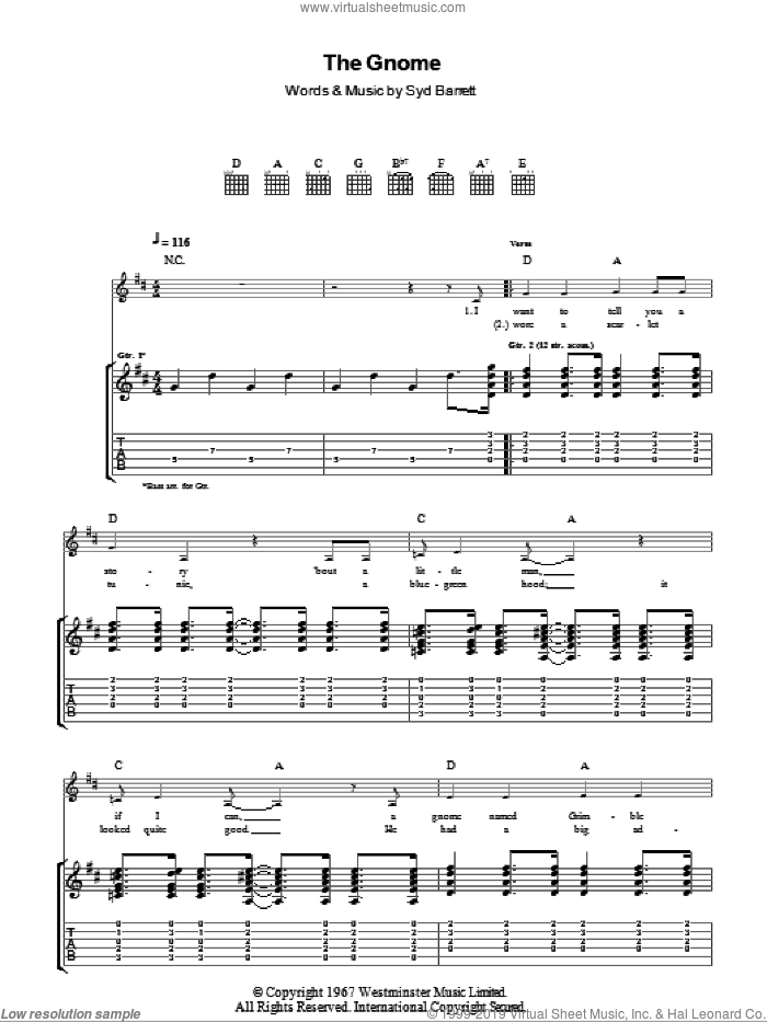 The Gnome sheet music for guitar (tablature) by Pink Floyd and Syd Barrett, intermediate. Score Image Preview.