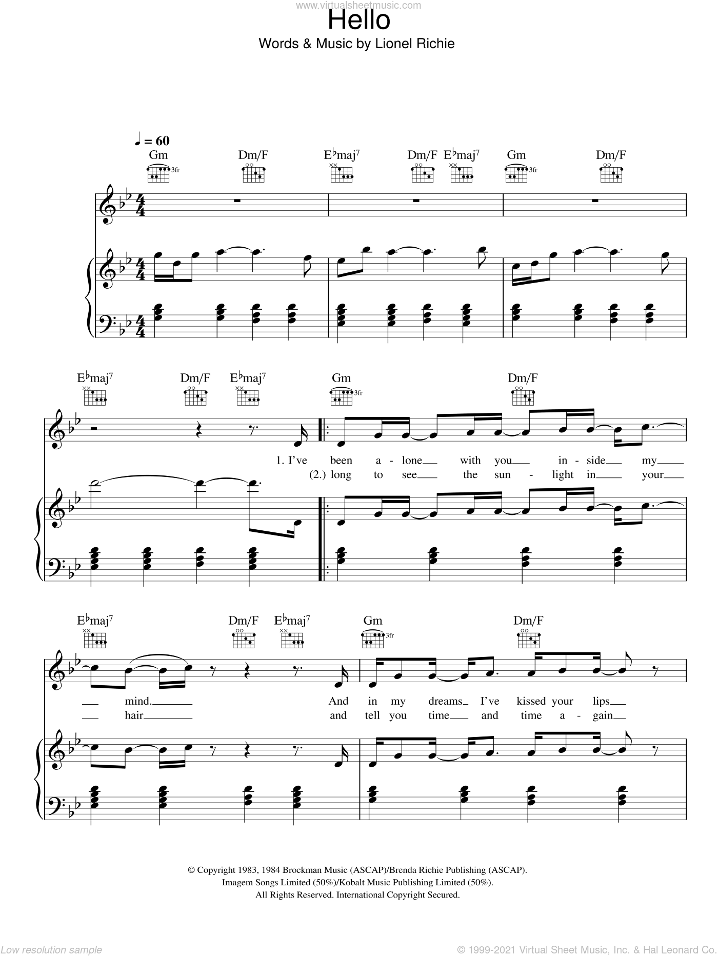 Hello sheet music for voice, piano or guitar by Glee Cast, Miscellaneous and Lionel Richie, intermediate skill level