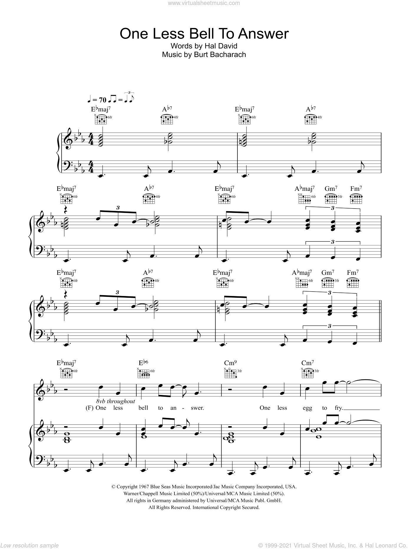 One Less Bell To Answer sheet music for voice, piano or guitar by Glee Cast, Bacharach & David, Miscellaneous, Burt Bacharach and Hal David. Score Image Preview.