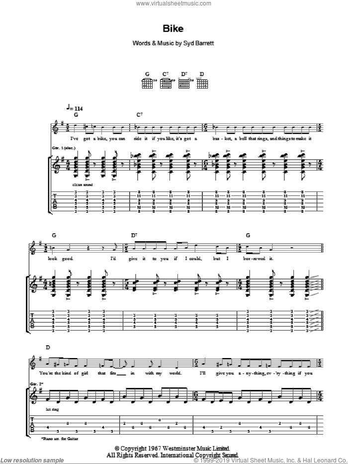 Bike sheet music for guitar (tablature) by Pink Floyd and Syd Barrett. Score Image Preview.