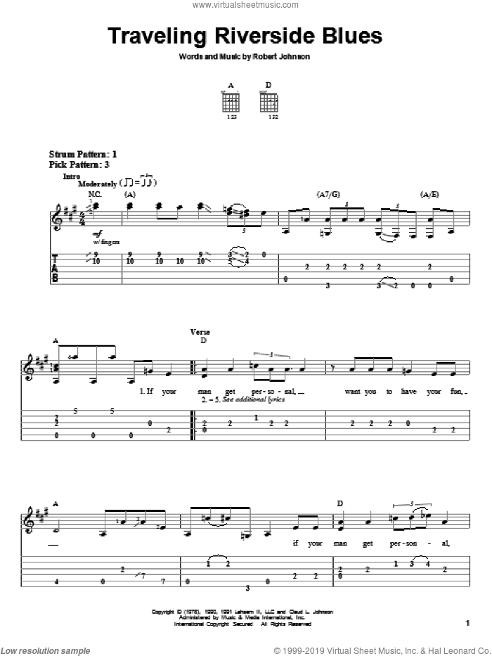Traveling Riverside Blues sheet music for guitar solo (easy tablature) by Robert Johnson. Score Image Preview.