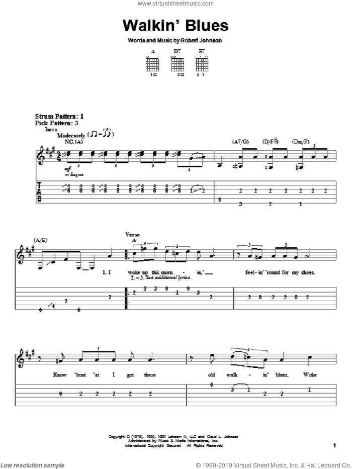 Walkin' Blues sheet music for guitar solo (easy tablature) by Robert Johnson, easy guitar (easy tablature)