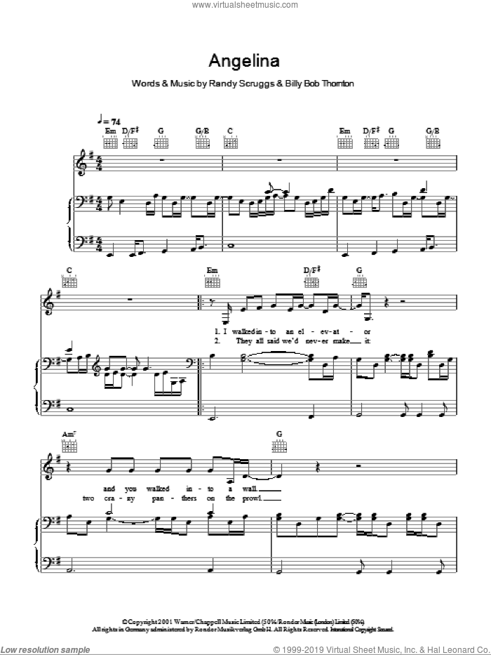 Angelina sheet music for voice, piano or guitar by Randy Scruggs