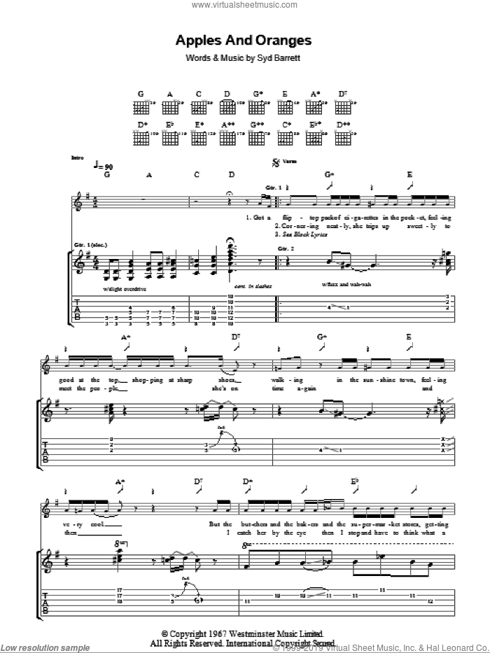 Apples And Oranges sheet music for guitar (tablature) by Pink Floyd and Syd Barrett, intermediate guitar (tablature). Score Image Preview.