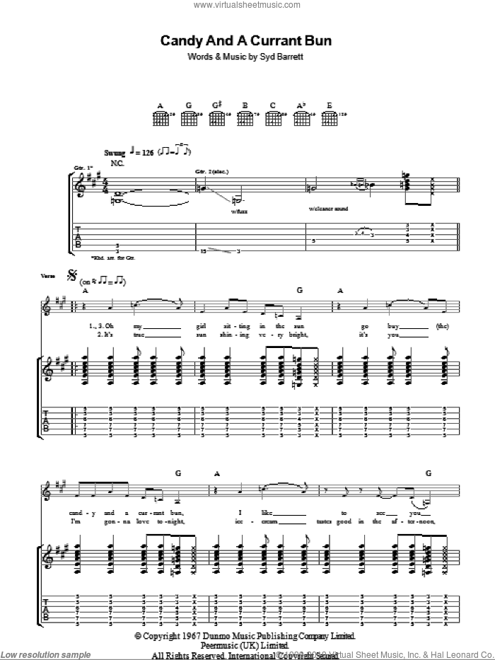Candy And A Currant Bun sheet music for guitar (tablature) by Pink Floyd and Syd Barrett, intermediate skill level