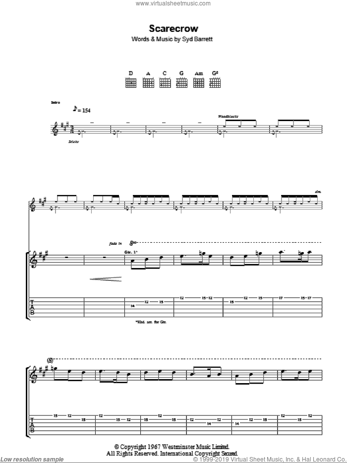 Scarecrow sheet music for guitar (tablature) by Pink Floyd and Syd Barrett. Score Image Preview.