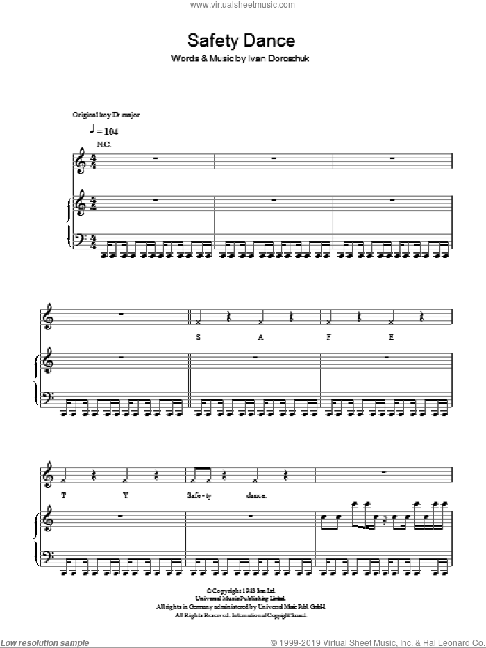 The Safety Dance sheet music for voice, piano or guitar by Glee Cast, Men Without Hats and Miscellaneous, intermediate. Score Image Preview.