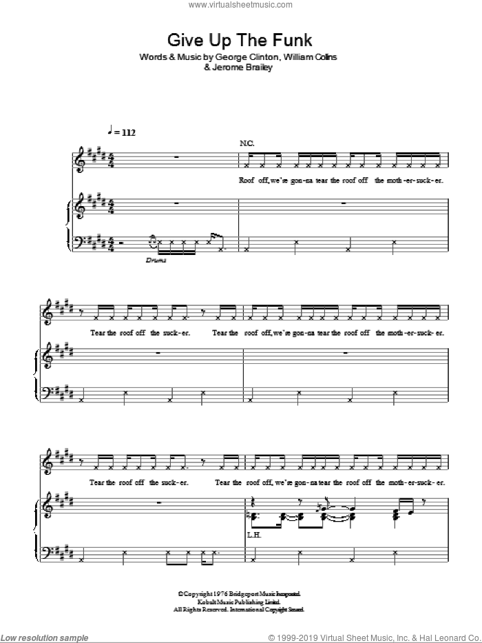Give Up The Funk sheet music for voice, piano or guitar by Glee Cast, Miscellaneous, Parliament, George Clinton, Jerome Brailey and William Collins, intermediate skill level