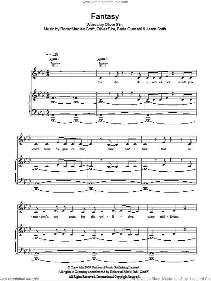 Fantasy sheet music for voice, piano or guitar by The XX, Baria Qureshi, Jamie Smith, Oliver Sim and Romy Madley Croft, intermediate. Score Image Preview.