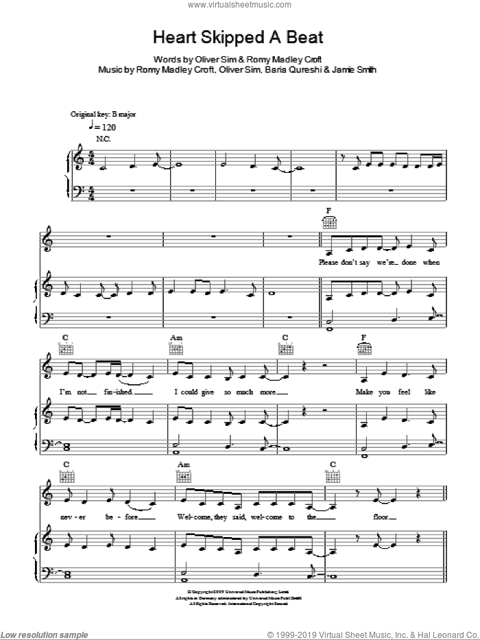 Heart Skipped A Beat sheet music for voice, piano or guitar by The XX, intermediate voice, piano or guitar. Score Image Preview.