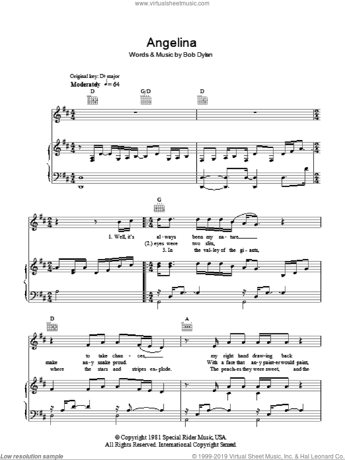 Angelina sheet music for voice, piano or guitar by Bob Dylan