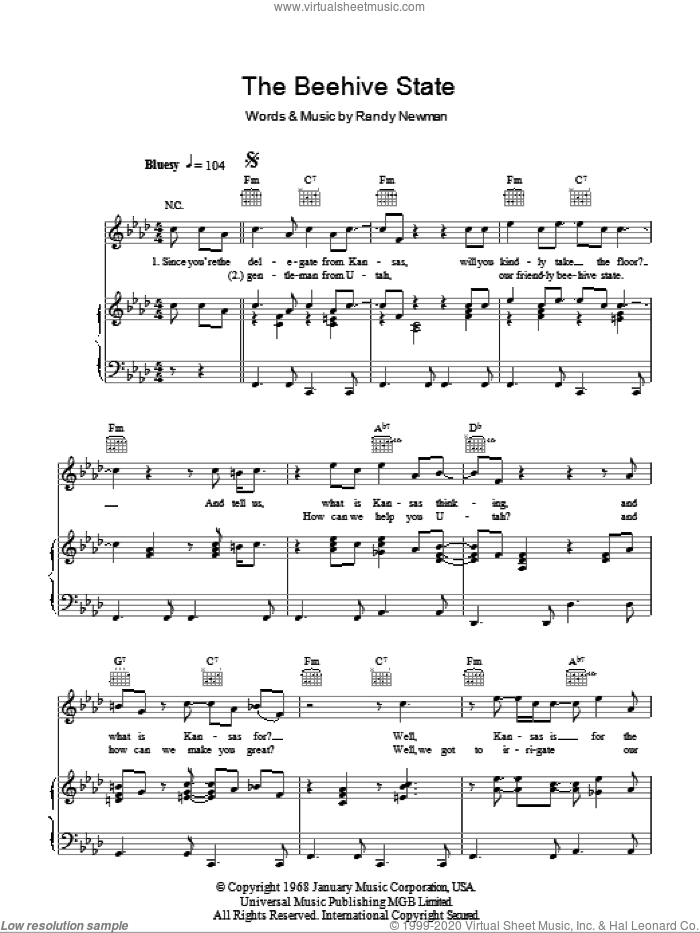The Beehive State sheet music for voice, piano or guitar by Randy Newman. Score Image Preview.
