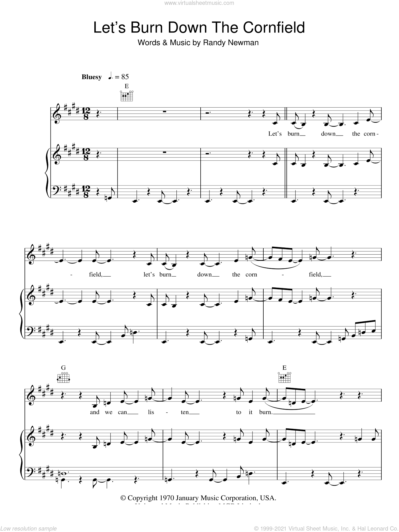 Let's Burn Down The Cornfield sheet music for voice, piano or guitar by Randy Newman. Score Image Preview.