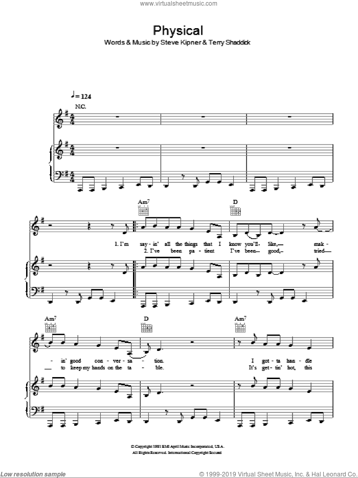 Physical sheet music for voice, piano or guitar by Glee Cast, Miscellaneous, Olivia Newton-John, Steve Kipner and Terry Shaddick, intermediate skill level