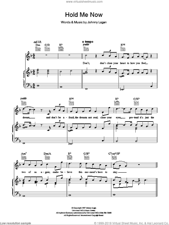 Hold Me Now sheet music for voice, piano or guitar by Johnny Logan. Score Image Preview.