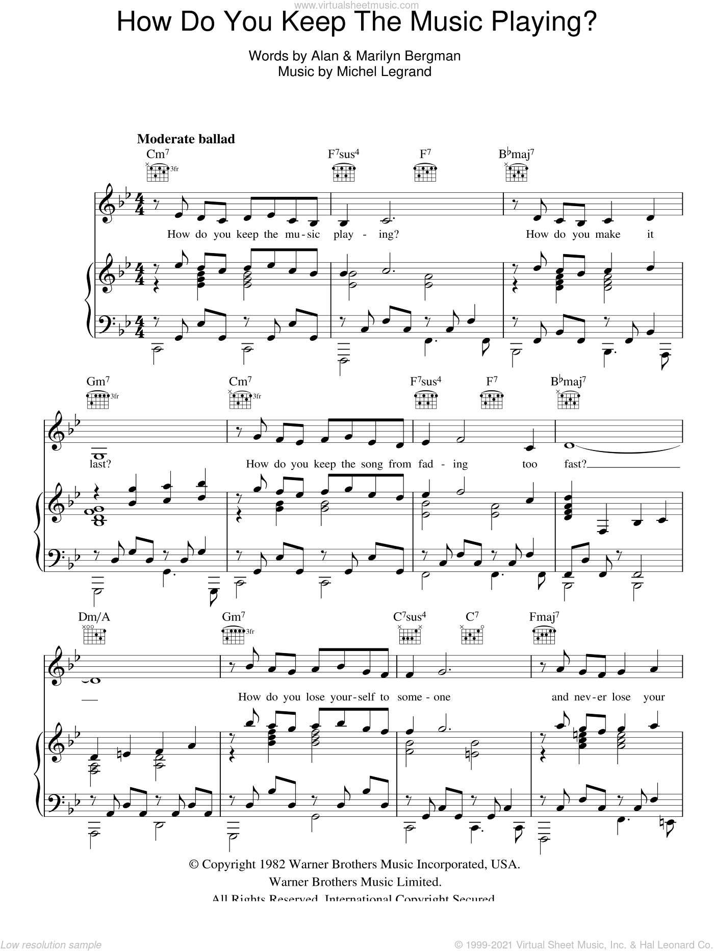 How Do You Keep The Music Playing? sheet music for voice, piano or guitar by James Ingram, Alan, Marilyn Bergman and Michel LeGrand, intermediate skill level