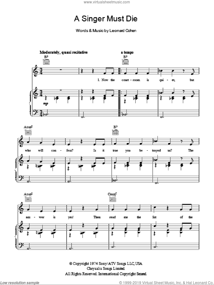 A Singer Must Die sheet music for voice, piano or guitar by Leonard Cohen. Score Image Preview.