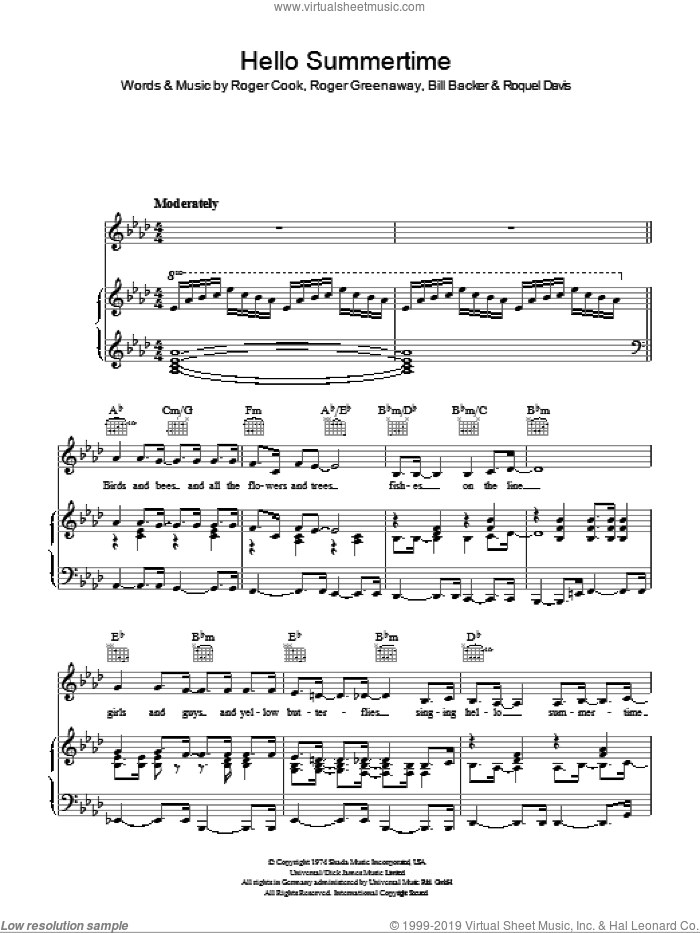 Hello Summertime sheet music for voice, piano or guitar by Billy Davis