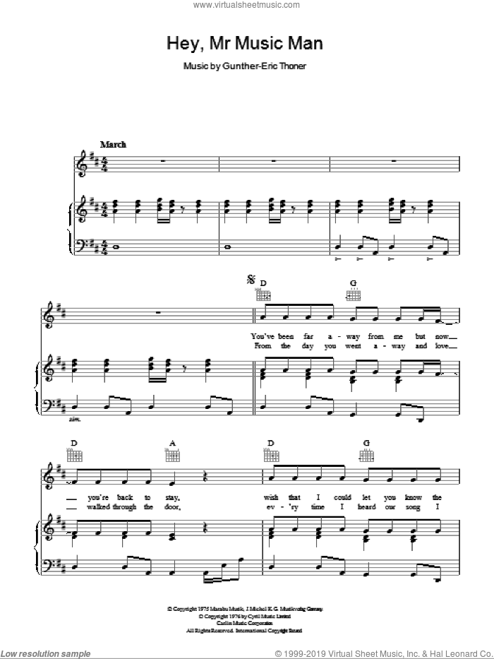 Hey, Mr Music Man sheet music for voice, piano or guitar by Gunther-Eric Thoner. Score Image Preview.
