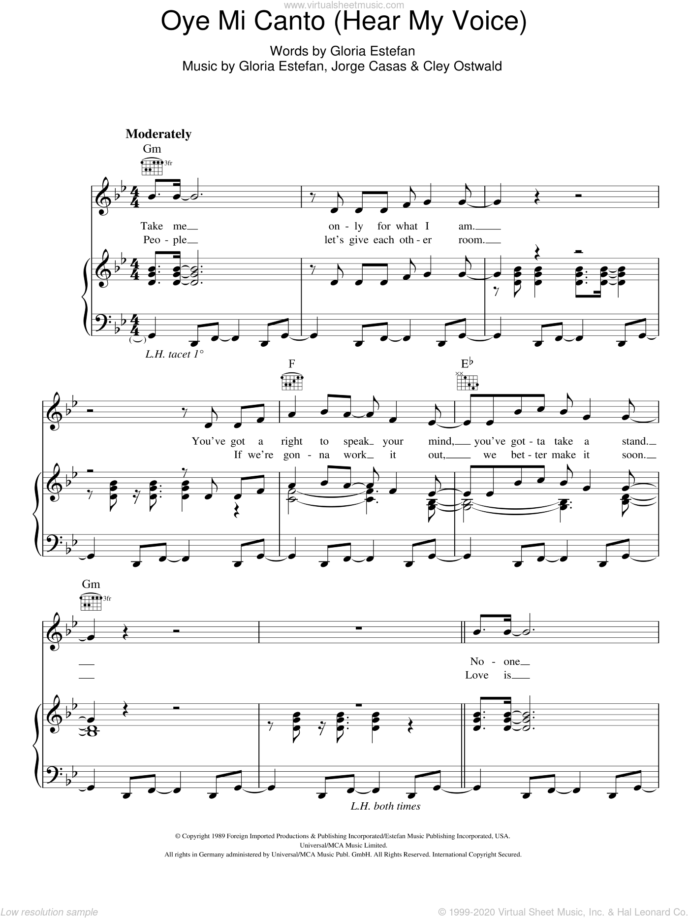 Oye Mi Canto (Hear My Voice) sheet music for voice, piano or guitar by Gloria Estefan, Cley Ostwald and Jorge Casas, intermediate