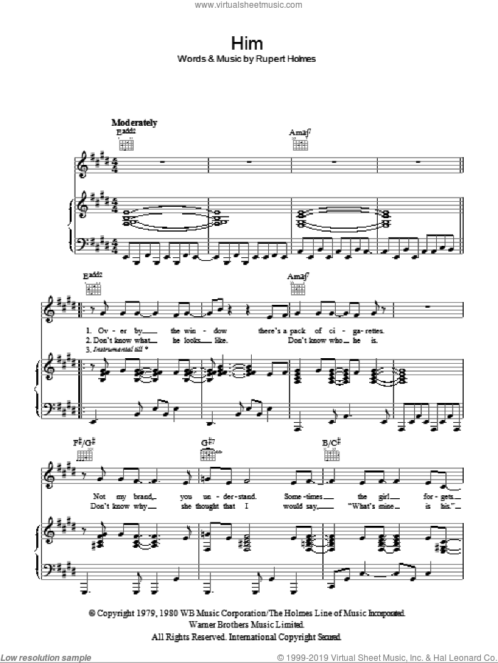 Him sheet music for voice, piano or guitar by Rupert Holmes, intermediate