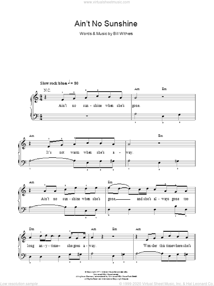 Ain't No Sunshine sheet music for piano solo (chords) by Bill Withers