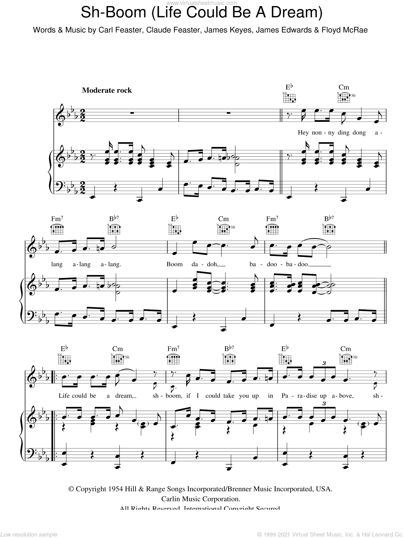 Sh-boom (Life Could Be A Dream) sheet music for voice, piano or guitar by James Keyes, Carl Feaster, Claude Feaster, Floyd McRae and James Edwards. Score Image Preview.
