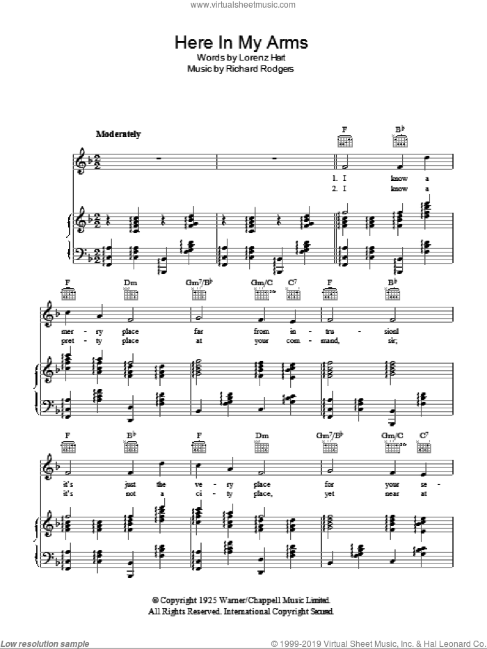 Here In My Arms sheet music for voice, piano or guitar by Richard Rodgers, Ella Fitzgerald, Rodgers & Hart and Lorenz Hart. Score Image Preview.