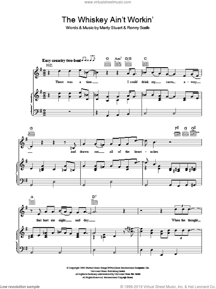 The Whiskey Ain't Workin' sheet music for voice, piano or guitar by Travis Tritt and Marty Stuart, intermediate. Score Image Preview.