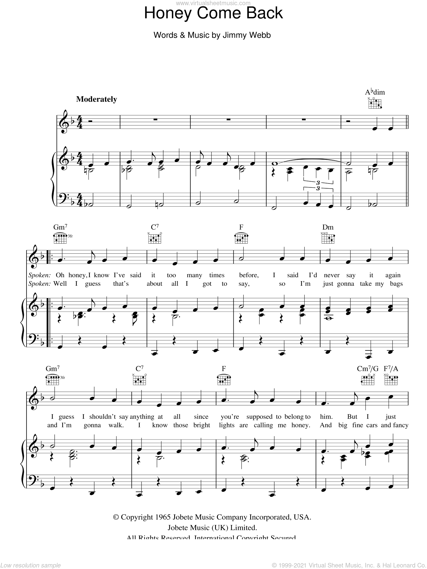Honey Come Back sheet music for voice, piano or guitar by Glen Campbell and Jimmy Webb, intermediate skill level