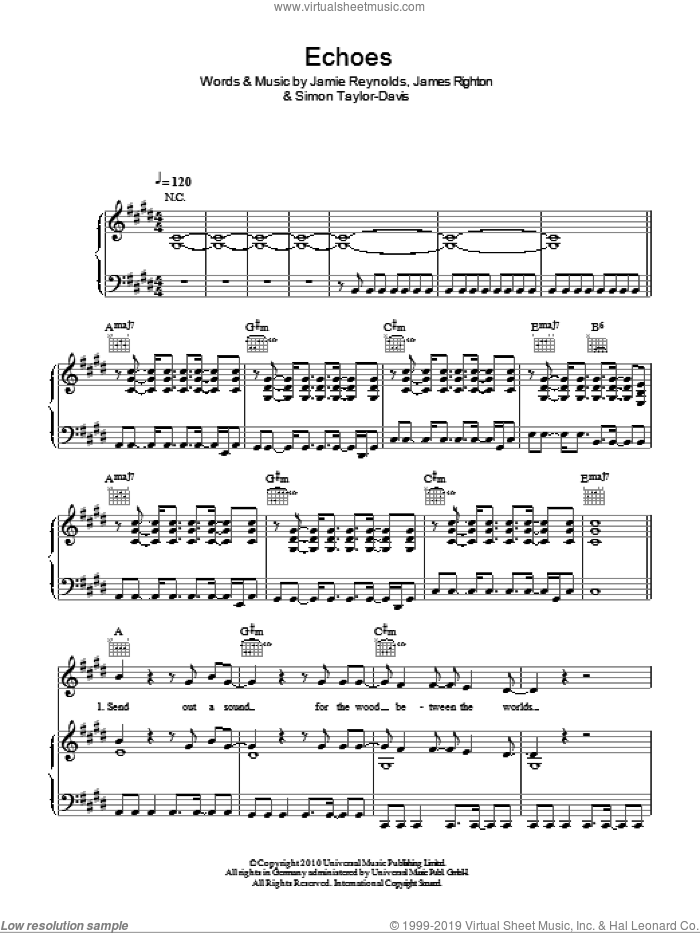 Echoes sheet music for voice, piano or guitar by Simon Taylor-Davis and James Righton. Score Image Preview.