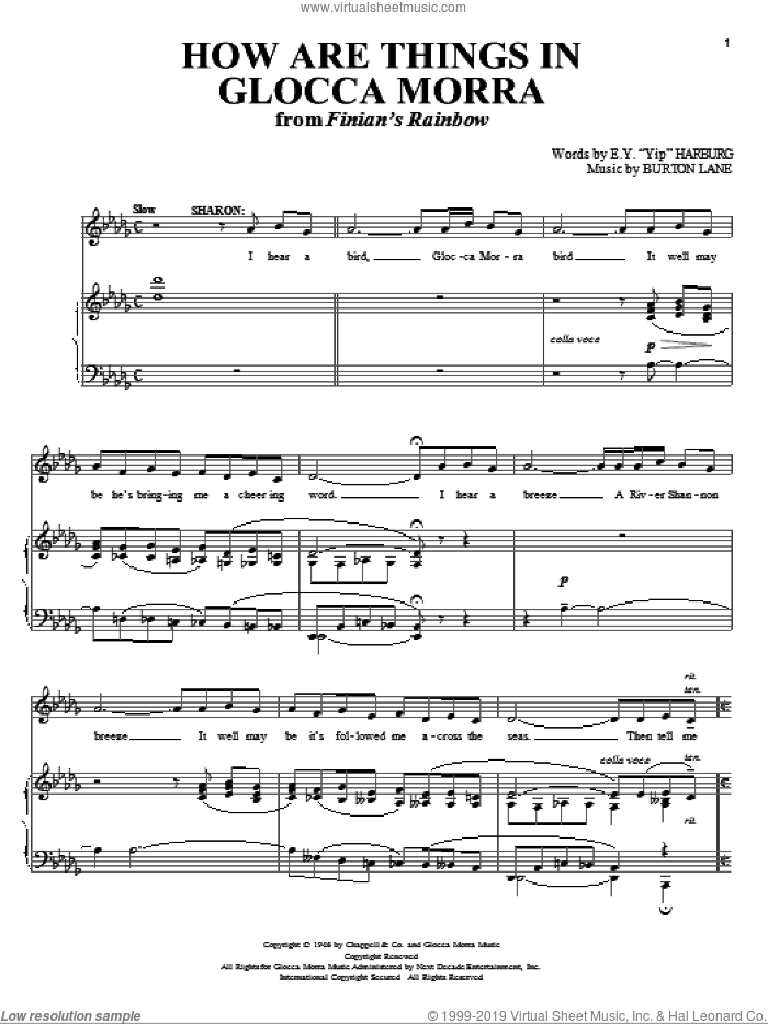 How Are Things In Glocca Morra sheet music for voice and piano by Burton Lane and E.Y. Harburg. Score Image Preview.