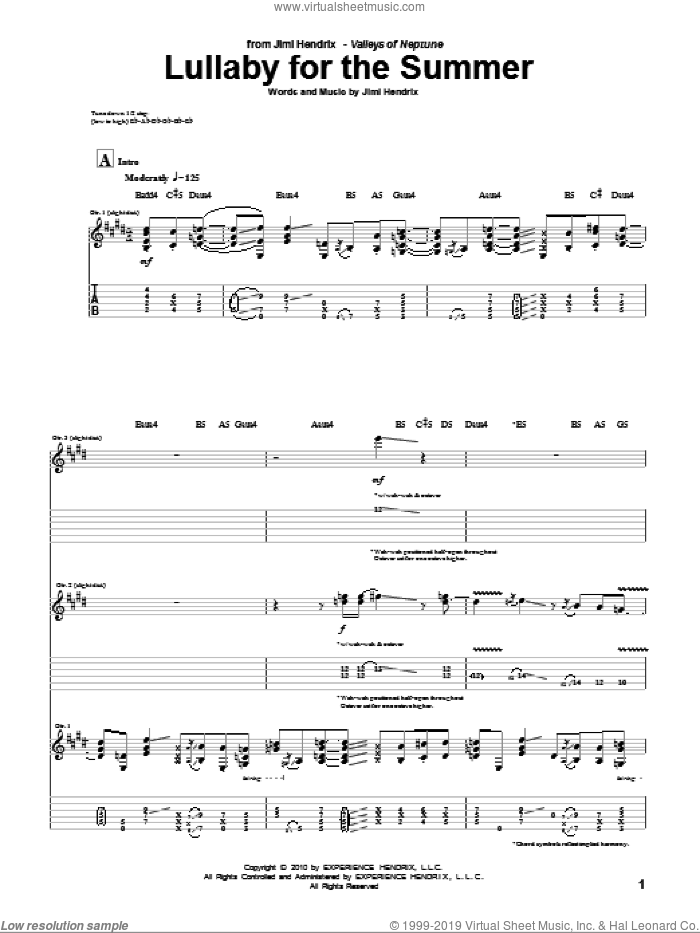 Lullaby For The Summer sheet music for guitar (tablature) by Jimi Hendrix. Score Image Preview.