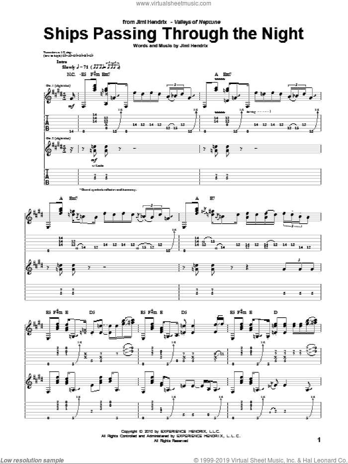 Ships Passing Through The Night sheet music for guitar (tablature) by Jimi Hendrix. Score Image Preview.