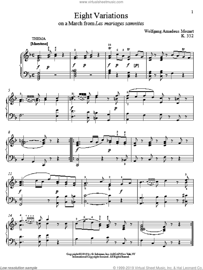 Eight Variations On A March from Les Mariages Samnites, K. 352 sheet music for piano solo by Wolfgang Amadeus Mozart and Matthew Edwards, classical score, intermediate skill level