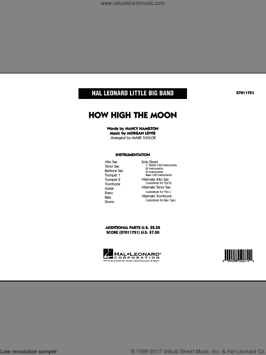 How High The Moon (COMPLETE) sheet music for jazz band by Morgan Lewis