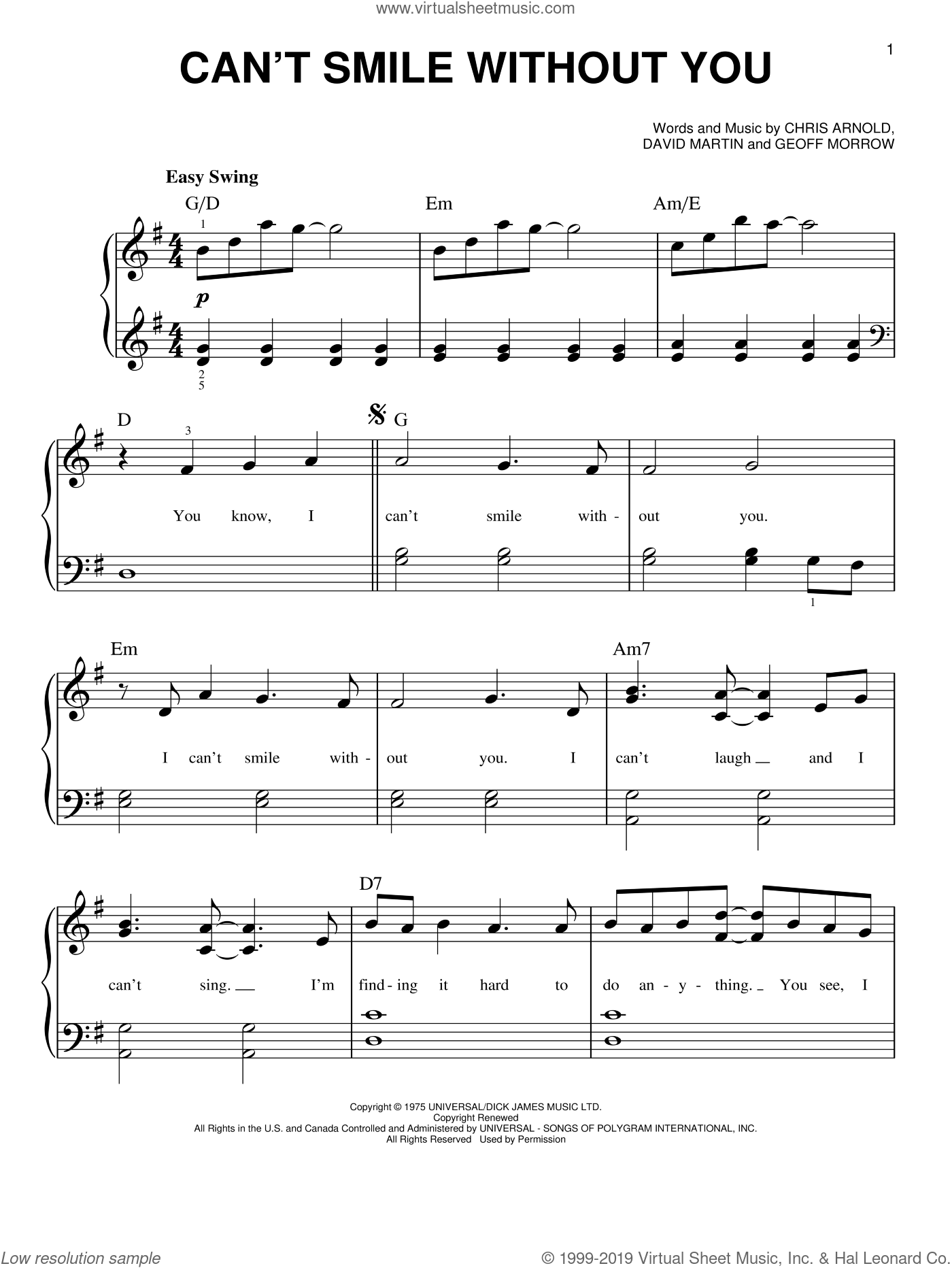 Can't Smile Without You sheet music for piano solo by Barry Manilow, Chris Arnold, David Martin and Geoff Morrow, easy skill level