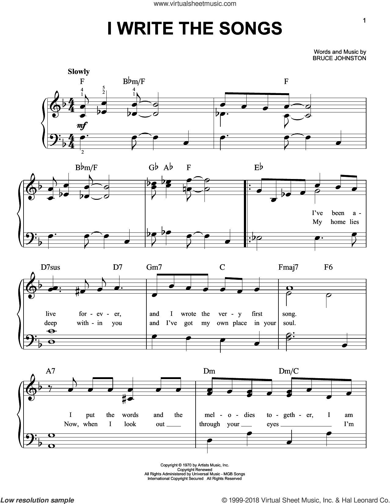 I Write The Songs sheet music for piano solo by Barry Manilow and Bruce Johnston, easy skill level