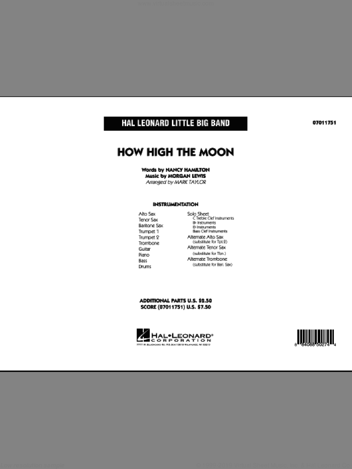 How High The Moon (COMPLETE) sheet music for jazz band by Morgan Lewis, Nancy Hamilton and Mark Taylor, intermediate. Score Image Preview.