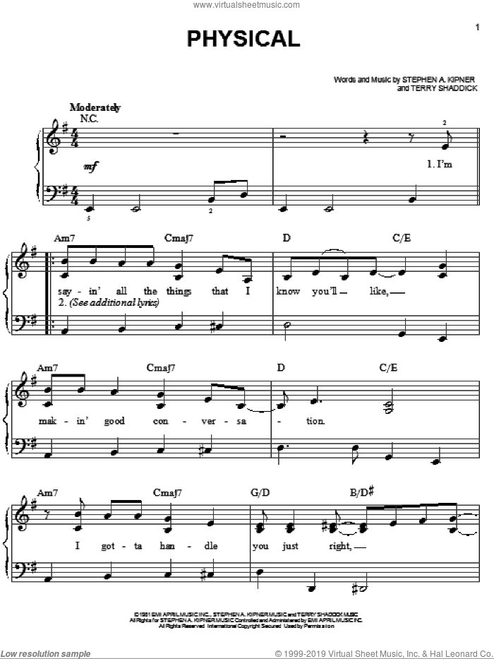 Physical sheet music for piano solo by Terry Shaddick, Miscellaneous and Olivia Newton-John. Score Image Preview.