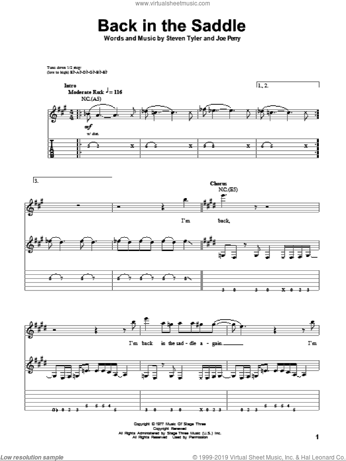 Back In The Saddle sheet music for guitar (tablature, play-along) by Steven Tyler, Aerosmith and Joe Perry. Score Image Preview.