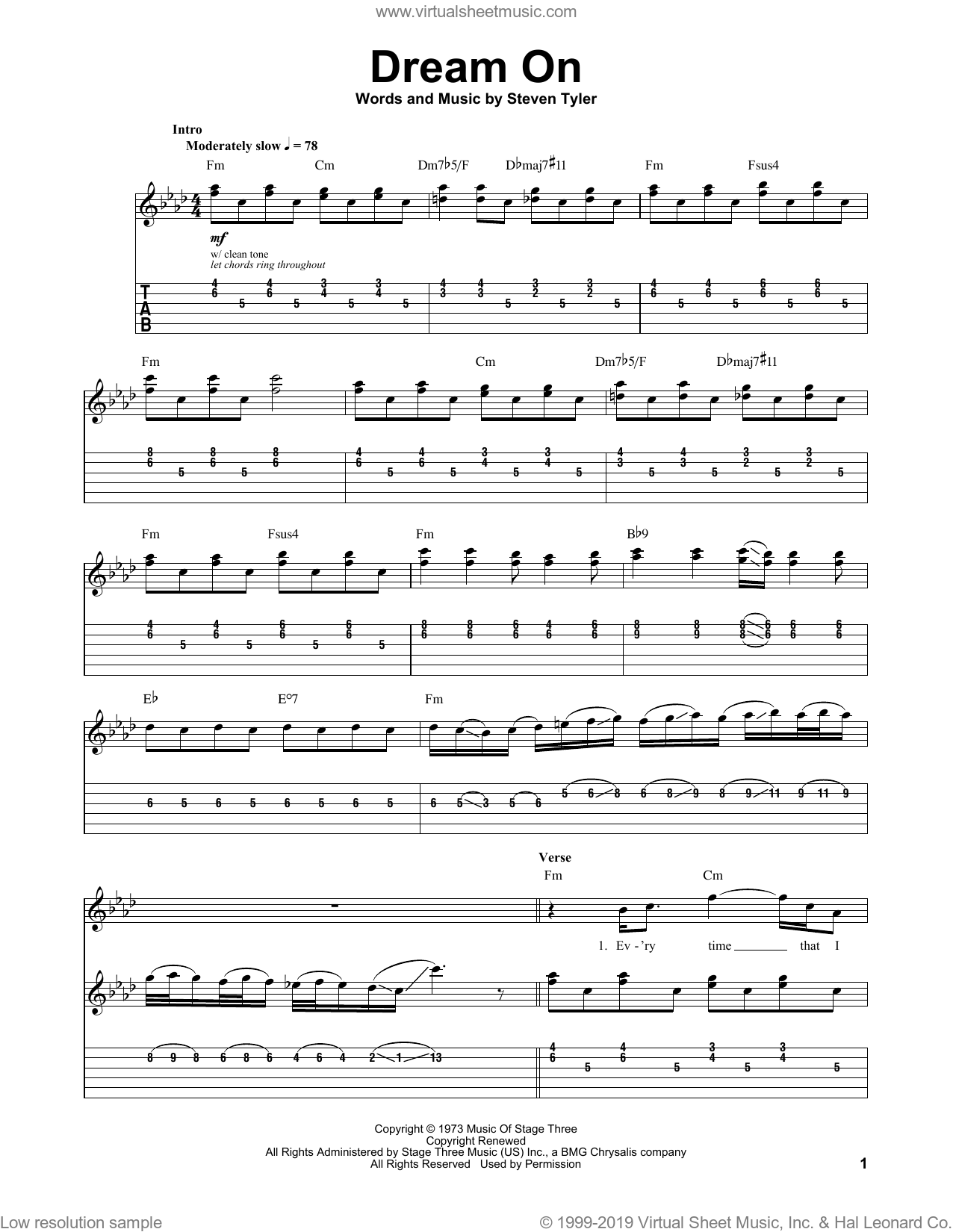 Dream On sheet music for guitar (tablature, play-along) by Steven Tyler and Aerosmith. Score Image Preview.