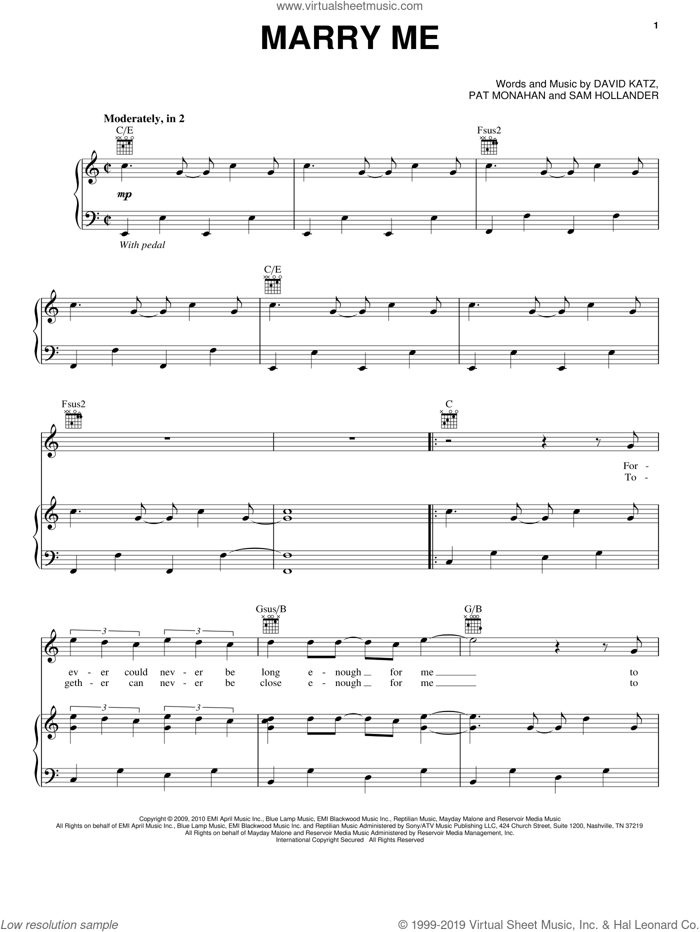Marry Me sheet music for voice, piano or guitar by Train and Pat Monahan, wedding score, intermediate skill level