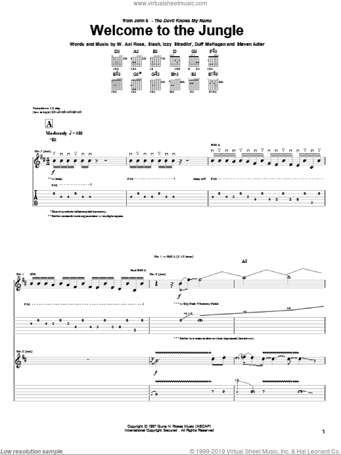 Welcome To The Jungle sheet music for guitar (tablature) by Axl Rose, John5, Duff McKagan, Slash and Steven Adler. Score Image Preview.