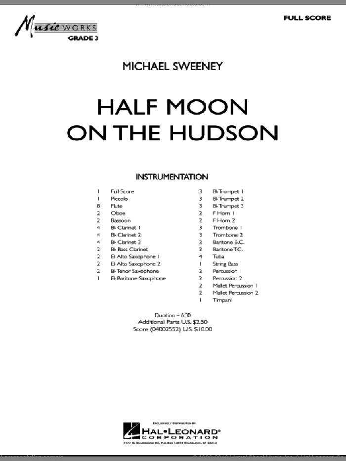 Half Moon On The Hudson sheet music for concert band (full score) by Michael Sweeney