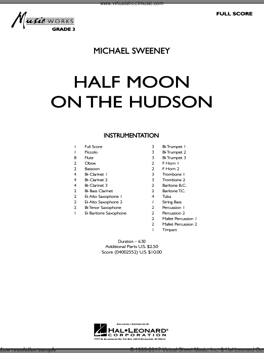Half Moon On The Hudson (COMPLETE) sheet music for concert band by Michael Sweeney